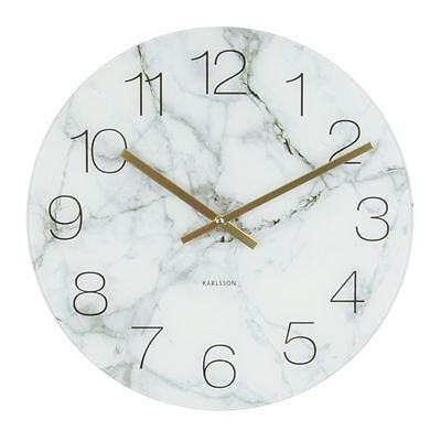 Karlsson Marble Glass Wall & Floor Clock White Small Unique Art Modern Home