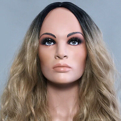 Mannequin Realistic Head Face Bust Jewelry Hat Wig Display Glass eyes Vintage