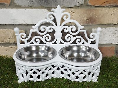 White Cast Iron Raised Small Dog Bowl Antique Style Cat Dish 2 Steel Food Feeder