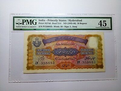 10 Rupees India-Princely States/Hyderabad Pick# S274b Jhun7.9.4 ND (1945-46) PMG