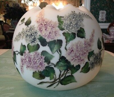 Very Large Lilac Decorated Handpainted Rose Bowl