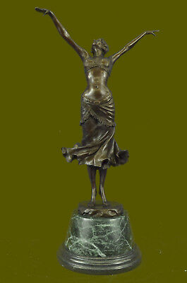 Female Nude Lady Dancing God Art Deco Bronze Sculpture Statue Figurine Figure T
