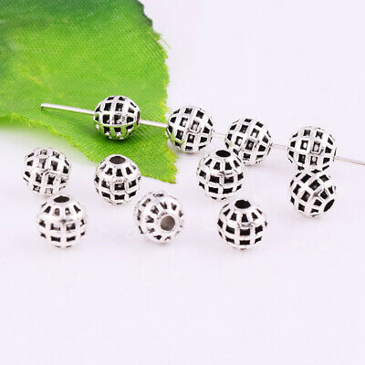 Metal Round Ball Spacer Bead Rondelle Charm Tibetan Silver Jewelry Findings 6mm