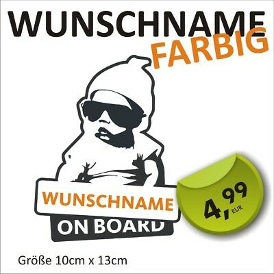 1Aufkleber Wunschname Baby on Board Kind an Bord Baby Name Auto Hangover