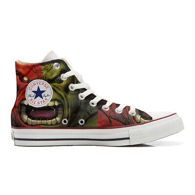 Scarpe sneakers Converse All Star Custom Hulk artigianali Made in Italy