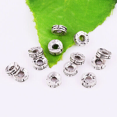 Metal Round Gasket Spacer Bead Charm Tibetan Silver Loose Jewelry Findings 6x2mm