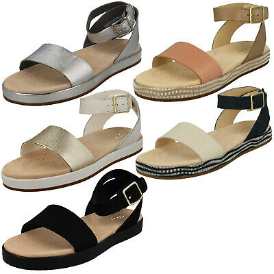 dab99c266c94 Ladies Clarks Botanic Ivy Leather Ankle Strap Flat Summer Casual Sandals  Size