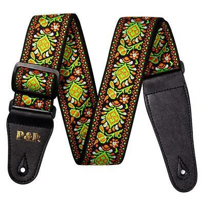 1PCS Green Vintage Flowers Stripes Guitar Strap Woven Embroidery Fabrics