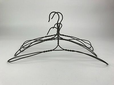 Antique Wire Clothes Hangers Lot of 4 Twisted Metal Primitive Vintage Patina
