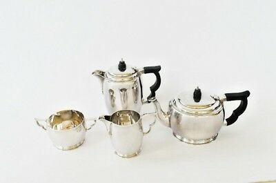 1944 George VI Solid Silver Art Deco Style Tea and Coffee Set by Wakeley&Wheeler