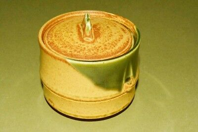Japanese tea Cup Pottery set Asian Antique Container Bamboo Art Lid Japan c434