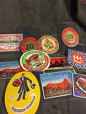 Vintage European Hotel Luggage Label lot of 11 in near mint condition (1960's)
