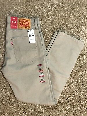 NWT Authentic Levis 513 Slim Straight Beige Tan Khaki Jeans With Stretch (0337)