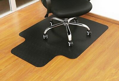 Small Black Office Chair Mat Floor Protection Anti-Slip Coating Protector Cover