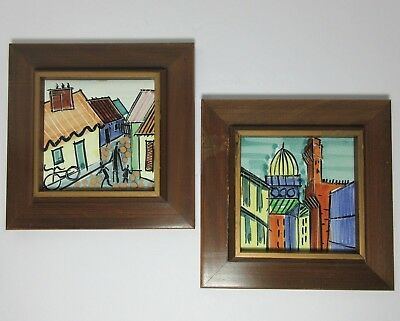 Two Harris Strong Framed Tiles With Labels Mid Century Modern