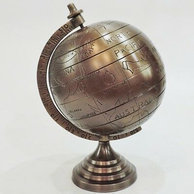 Antique Brass World Map Embossed Globe  20cm Tabletop Educational Nautical Atlas