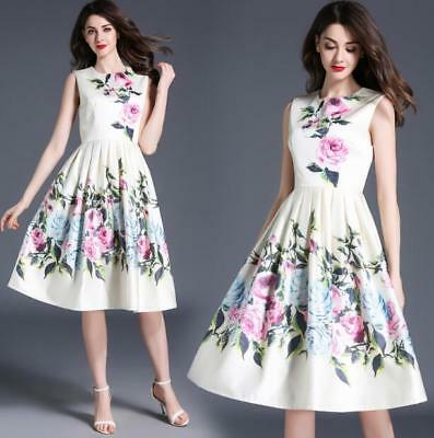 aa9da3da31c0 FASHION WOMEN GIRL Summer Dress A-Line sleeveless Floral Korean ...