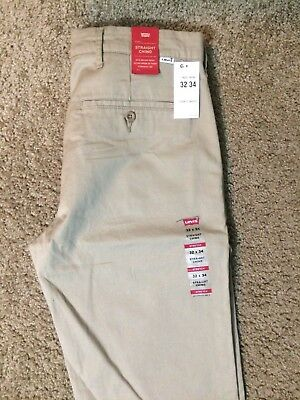 NWT ***CLOSE OUT*** Authentic Levis Straight Khaki Chino Pants W/ Stretch (0039)