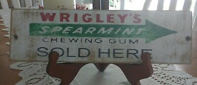 Wrigley's Spearmint Chewing Gum Sold Here ~ Wooden Sign