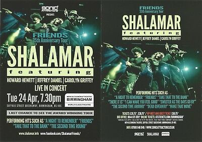 Shalamar  Howard Hewett Jeffrey Daniel  Birmingham  Friends 2018 Tour  Flyer x 3