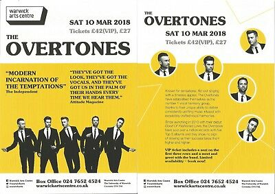 The Overtones      Warwick Arts Centre     2018 UK Tour     Flyer / Handbill x 3