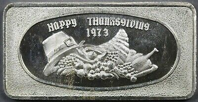 Happy Thanksgiving 1973 Silver Bar One Troy Ounce .999 Fine Great Lakes Mint