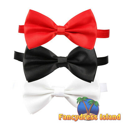 Bow Tie with Adjustable Strap Satin Ball Dinner Mafia Mens Fancy Dress Accessory
