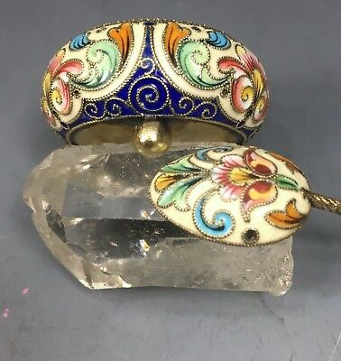 Rare Antique Russian 84 Silver Enamel Salt And Spoon By Feodor Ruckert