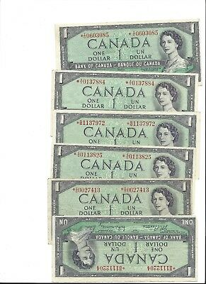 Canadian Paper Currency - 1954 Replacement Bills -  One Dollar Denomination!