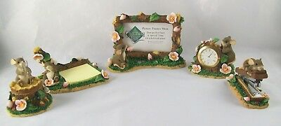 Charming Tails Fitz and Floyd Office Qty 5 Nativity Mice Figures Stapler Clock