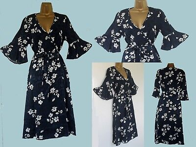 4592eb1223 New Monsoon Blue White Floral Party Occasion Tea Dress 8 10 12 14 16 18 20