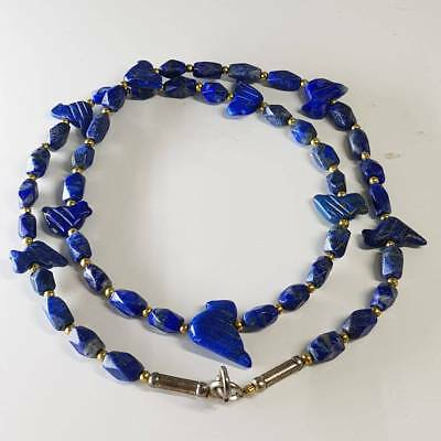 Antique Lapis lazuli Lovely Old Birds Stone Beads Necklace   # D2