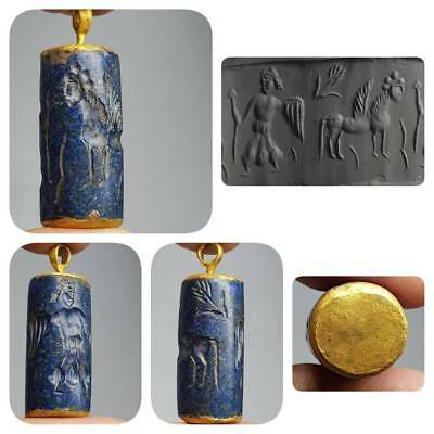 Old Lovely Lapis lazuli intaglio Stone made into a gold plated pendant   # D2