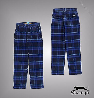 Junior Boys Slazenger Zip Fly Check Pattern Golf Trousers Pants