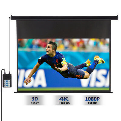 """New 100"""" 16:9 HD 3D Ceiling Electric Motorized Projector Screen + Remote Control"""