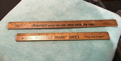 """Two Vintage Advertisement Rulers, 1938 Ponitac, """"Triangle Brand"""" Shoes"""