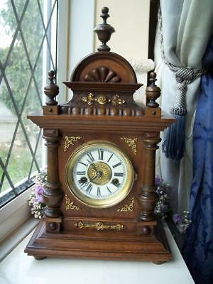 LOVELY ANTIQUE BLACK FOREST HAC MAHOGANY CHIMING MANTLE CLOCK c1900