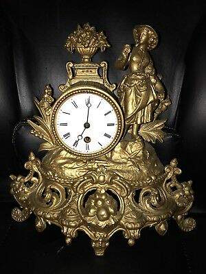 French Gilt Ormolu Clock Figural Clock Antique With Key And Pendulam