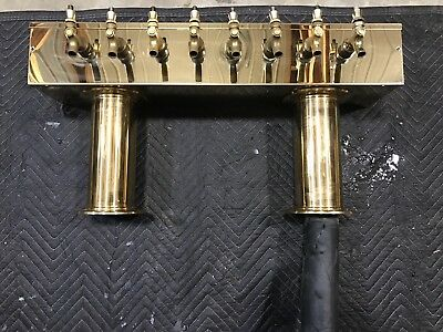 Used Tarnish Free PVD Brass Pass Thru Draft Beer Tower  8 Faucets  GLYCOL COOLED