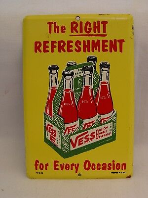 VESS Soda 6-Packs Billion Bubble Beverages Advertising Door Push Stamped Sign
