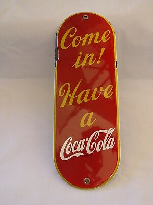 """11.5"""" Stamped Metal Porcelain Pill Shaped Coca-Cola Advertising Door Push Sign"""