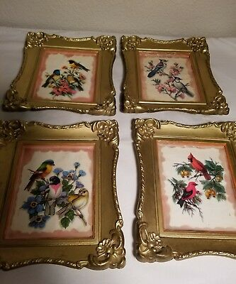 Set of 4 Vintage Bird Prints Stamped Made in Hong Kong  Bird Wall Art 50'-70's