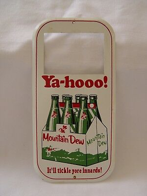 Mt. Dew Ya-Hoo! Tickle Yore Innards! Advertising 6-Pack Price Tag Door Push Sign