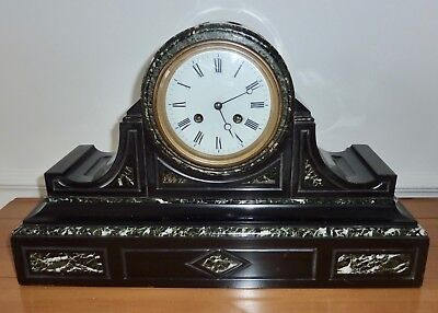 """Antique French """"F Marti"""" Slate & Marble Drumhead Clock: RECENTLY SERVICED"""