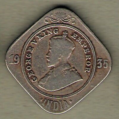 British India - 1935 - King George V - Two Anna - Rare Coin