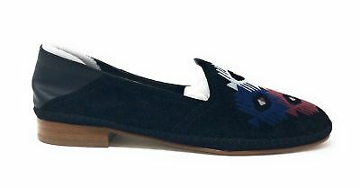 74ce8ebaaed Soludos Womens Embroidered Venetian Loafer Flat Black Leather Suede Tribal  7.5