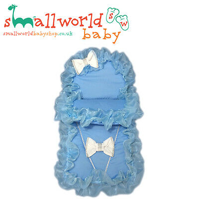 Personalised Blue Bling Pram Set With White Bows (NEXT DAY DISPATCH)