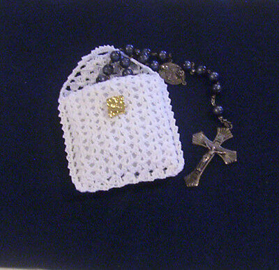 Hand Crochet White Lacy Cotton Rosary Jewelry Pouch