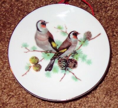 Small Old Vintage Collector Bird Plate Goldfinch Gold Finch On Pine Cone Branch