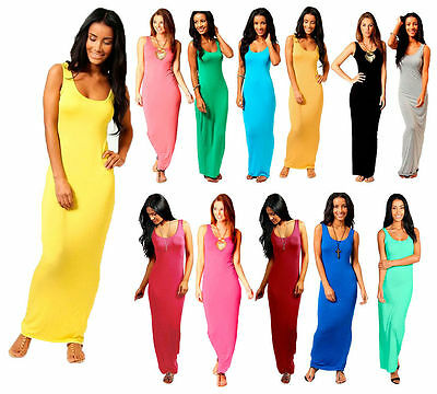 955cfddb11f femme simple muscle dos nageur sans manche moulant ROBE MAXI LONGUE UK 8-26